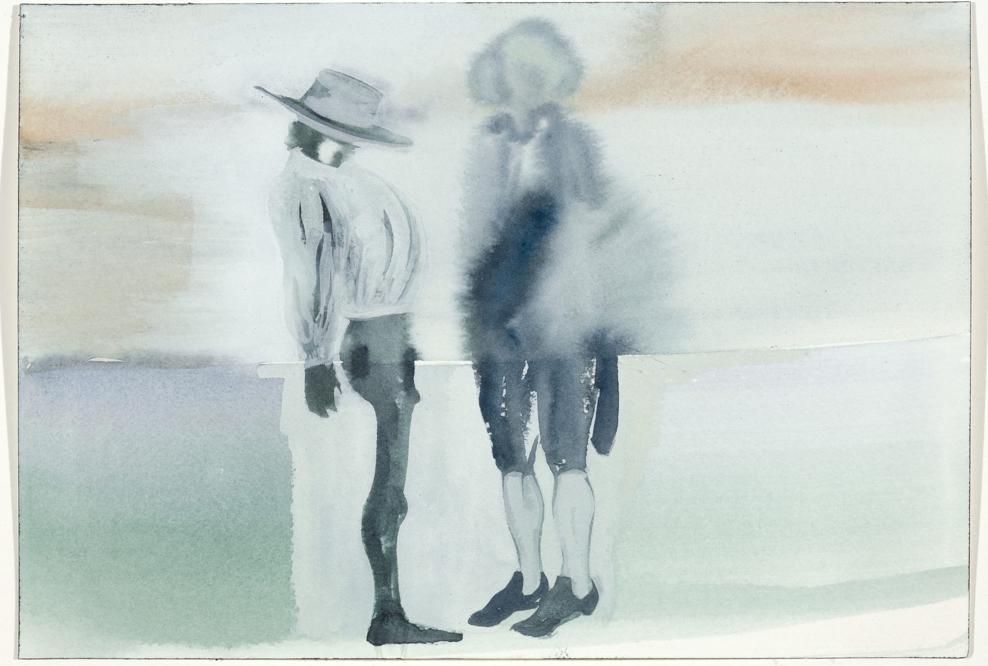 Kara Walker (American, b. 1969), Mase n' Dixon from the series Negress Notes (Slavery Reparations Act), 2003. Watercolor, 7 x 10 1/4 in. Museum purchase, Kathryn Hurd Fund, M.2003.1.A