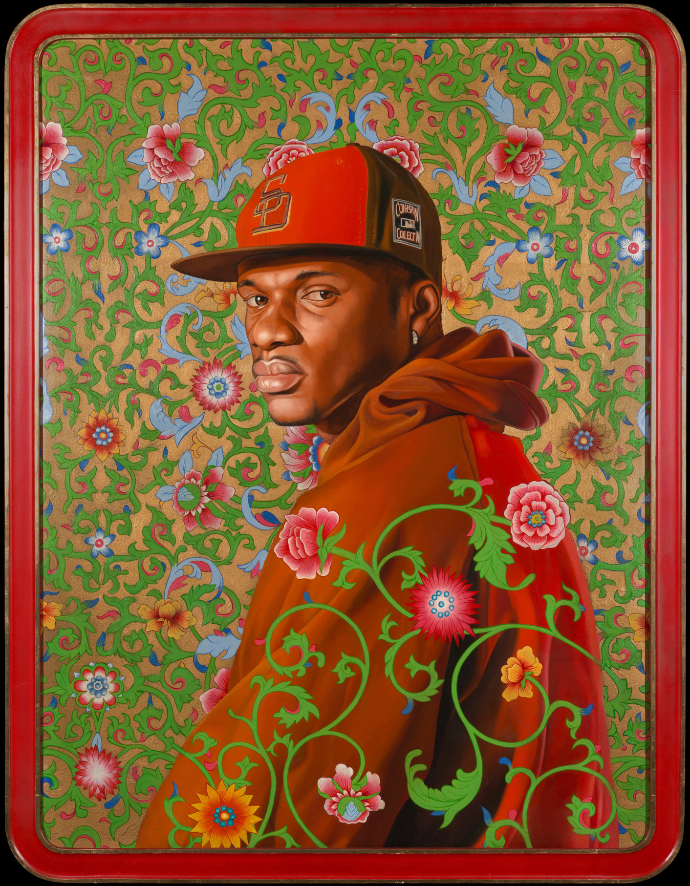 Kehinde Wiley (American, b.1977), Cheick I, 2007. Oil and enamel on canvas, 46 × 34 in. Gift of Susy and Jack Wadsworth, Class of 1961, M.2017.3
