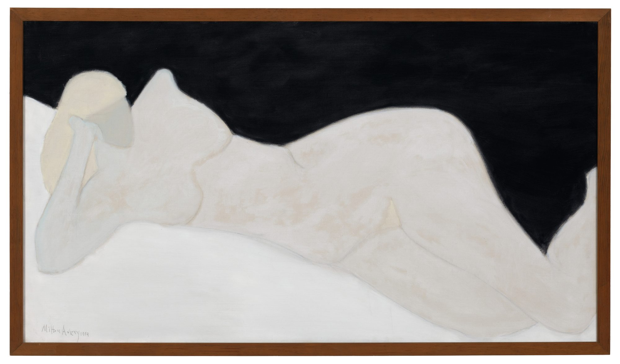 Milton Clark Avery, Reclining Blonde, 1959. Oil on canvas, 29 15/16 x 52 1/16 in. Bequest of Lawrence H. Bloedel, Class of 1923. 77.9.1