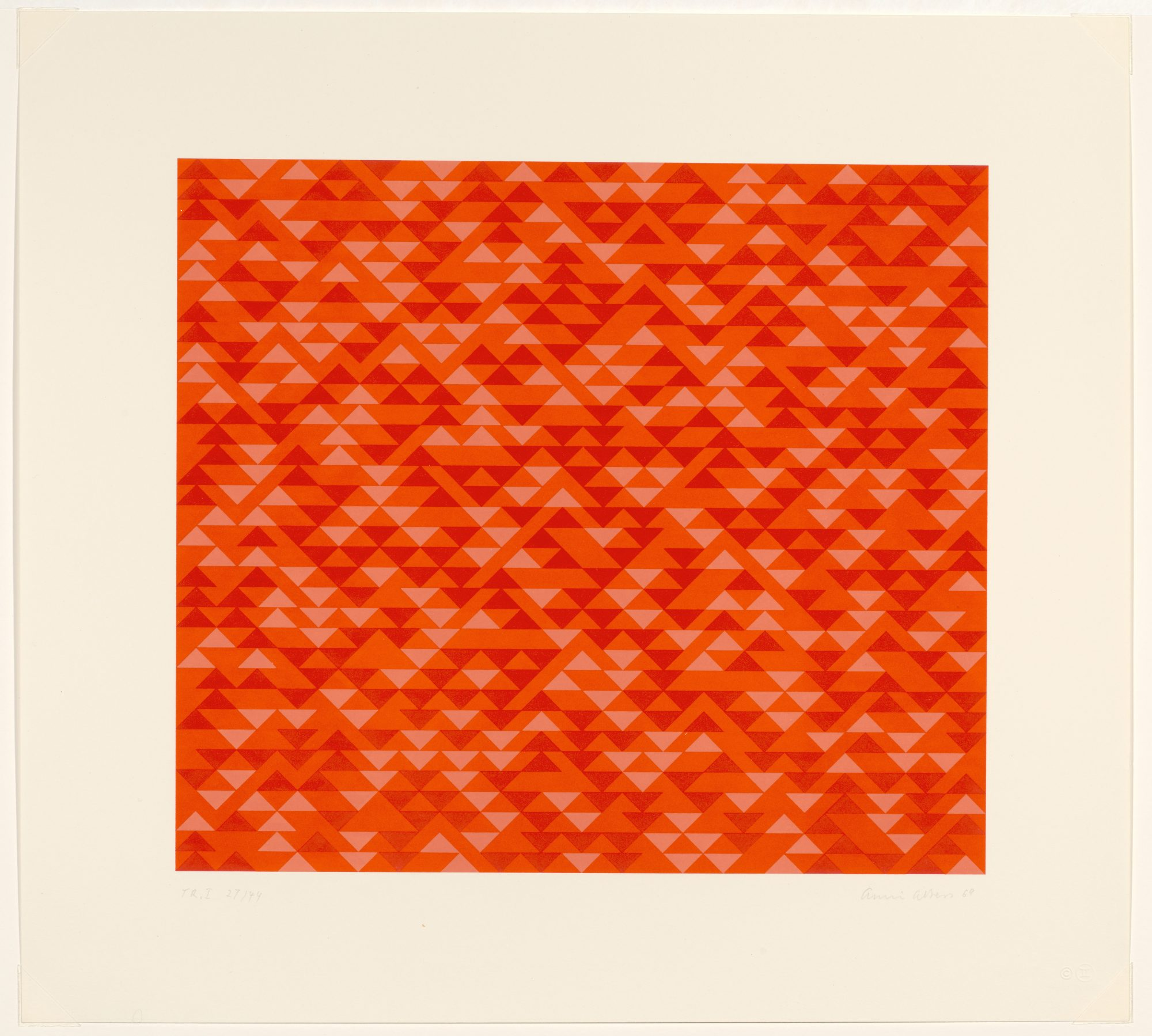 Anni Albers, TR I, 1969. Color lithograph on paper, 14 x 15 15/16 in. Gift of Frederick M. Myers, Class of 1943. 81.46.1