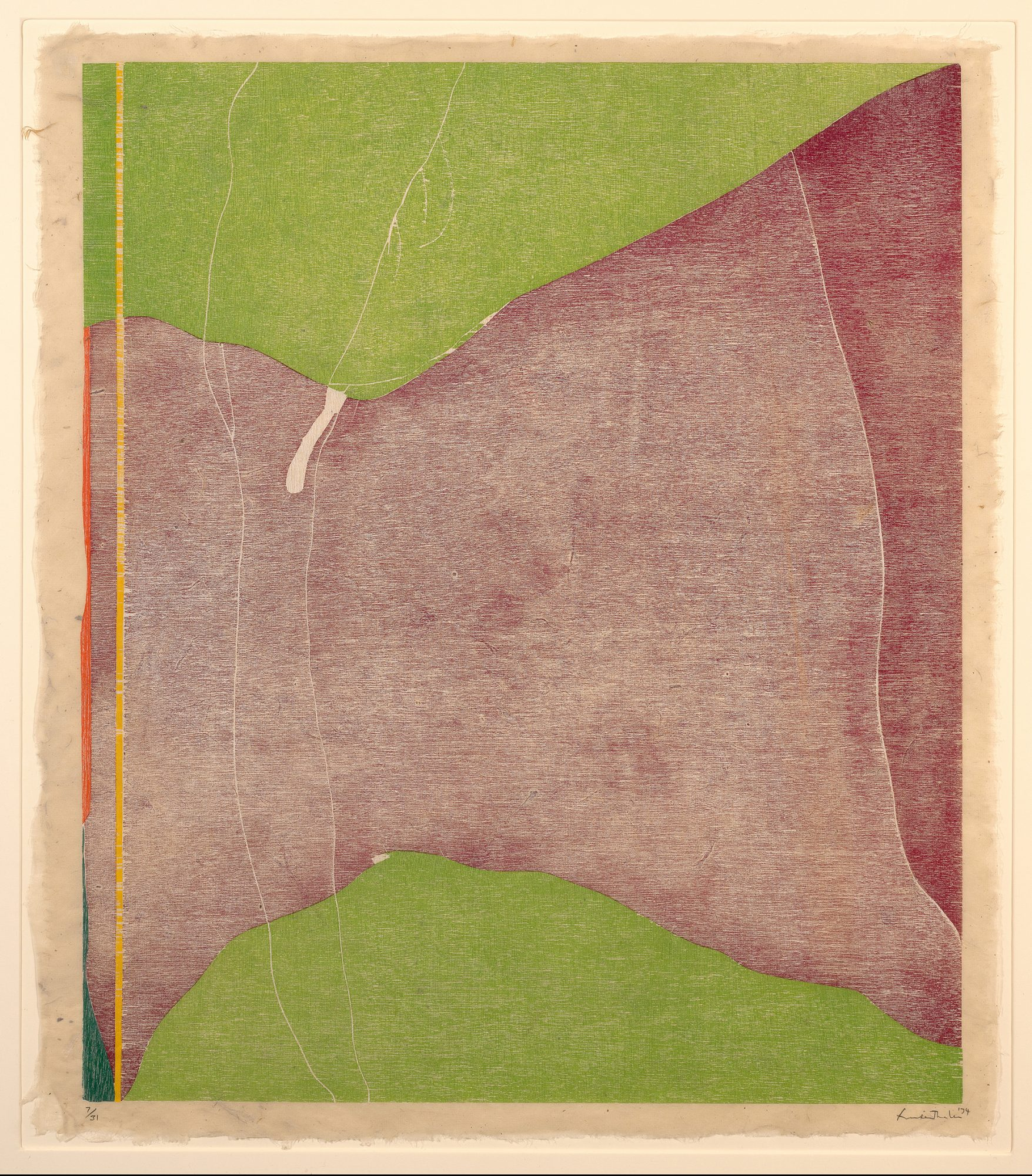 Helen Frankenthaler, Savage Breeze, 1974. Woodcut on Nepalese hand-made paper, 31 1/2 x 27 in. Gift of William H. McCulloch and Frank H. McCulloch, Class of 1968, in honor of Edith L. and Frank W. McCulloch, Class of 1926. 97.7