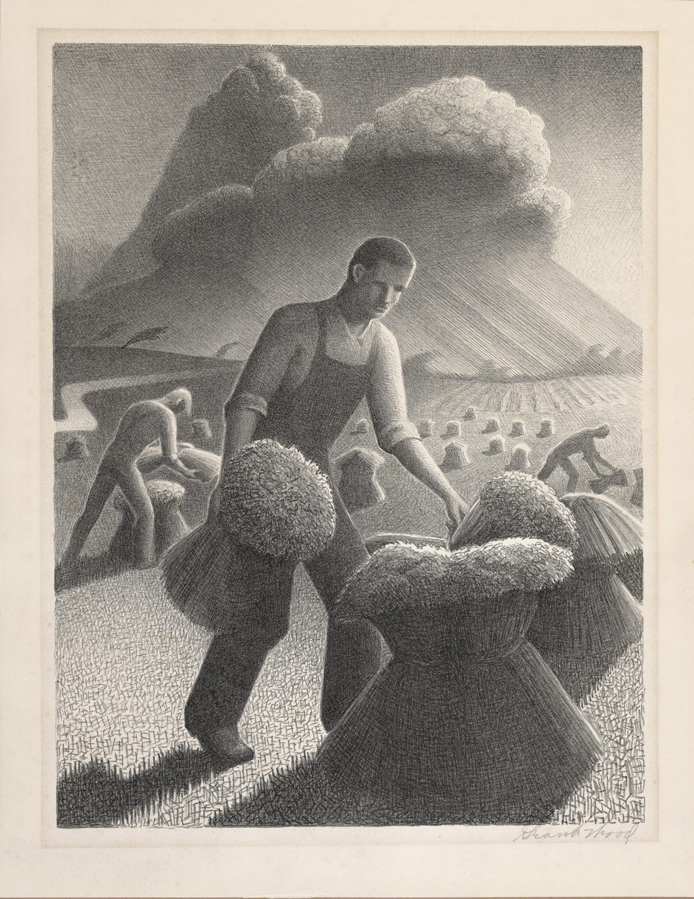 Grant Wood, Approaching Storm, 1940. Lithograph, 11 3/4 x 8 7/8 in. Gift of Susan and Stuart Crampton, Class of 1958. M.2003.17.3