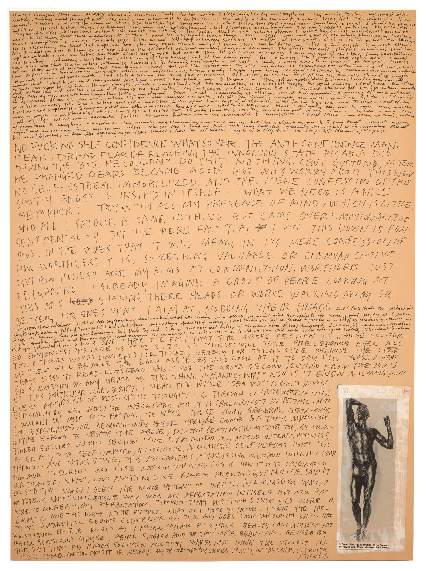 Richard Hawkins, American, b. 1961, Still III: An Illuminating Manuscript, Page 06, 1984. Collage and ink on paper, 23 15/16 x 17 15/16 in. Gift of Elizabeth Mize Currie, Class of 1978. M.2015.12.1