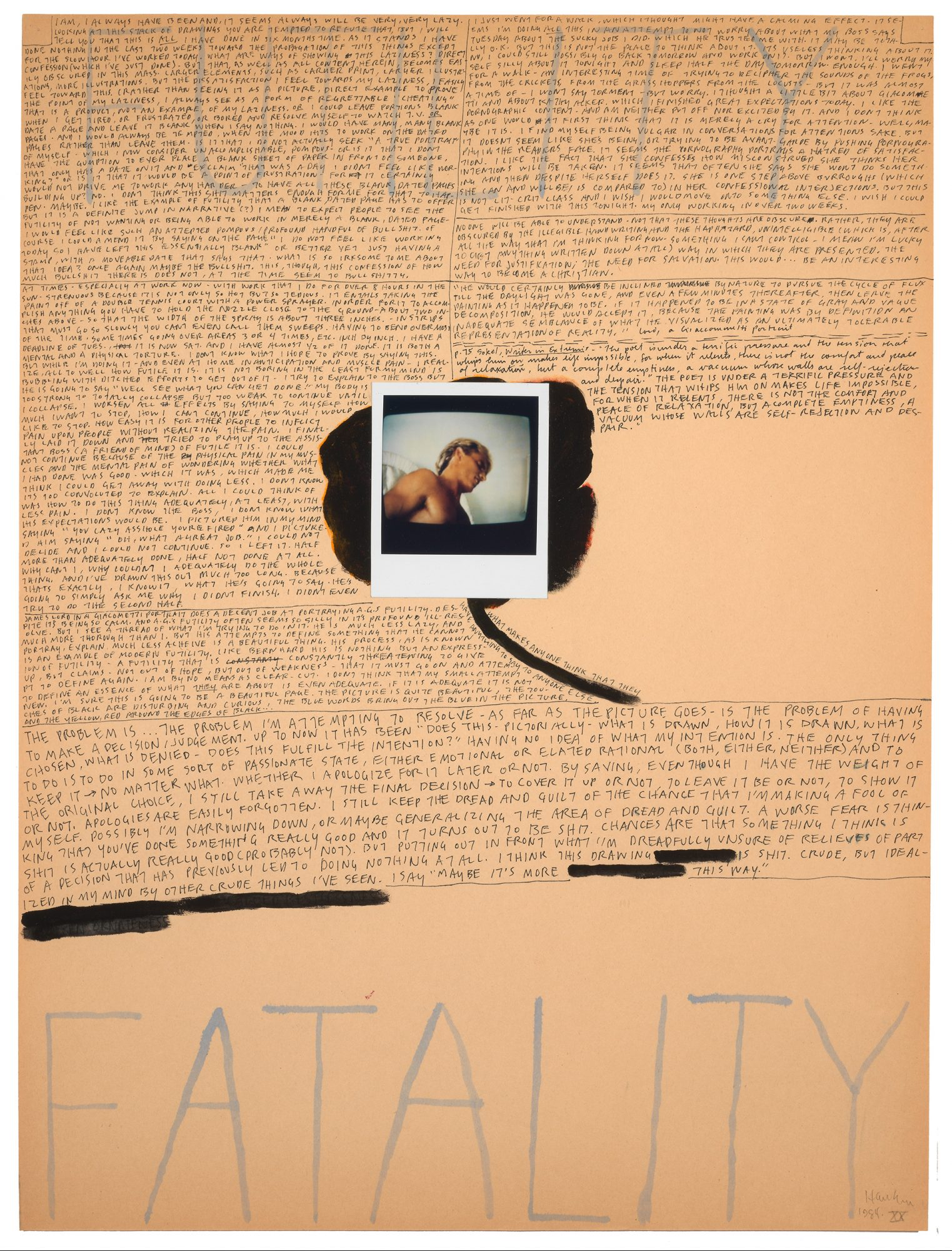 Richard Hawkins (American, b. 1961), Still III: An Illuminating Manuscript, page 20, 1984, acrylic, polaroid, and ink on paper, 23 15/16 × 17 15/16 in. Gift of Elizabeth Mize Currie, Class of 1978.