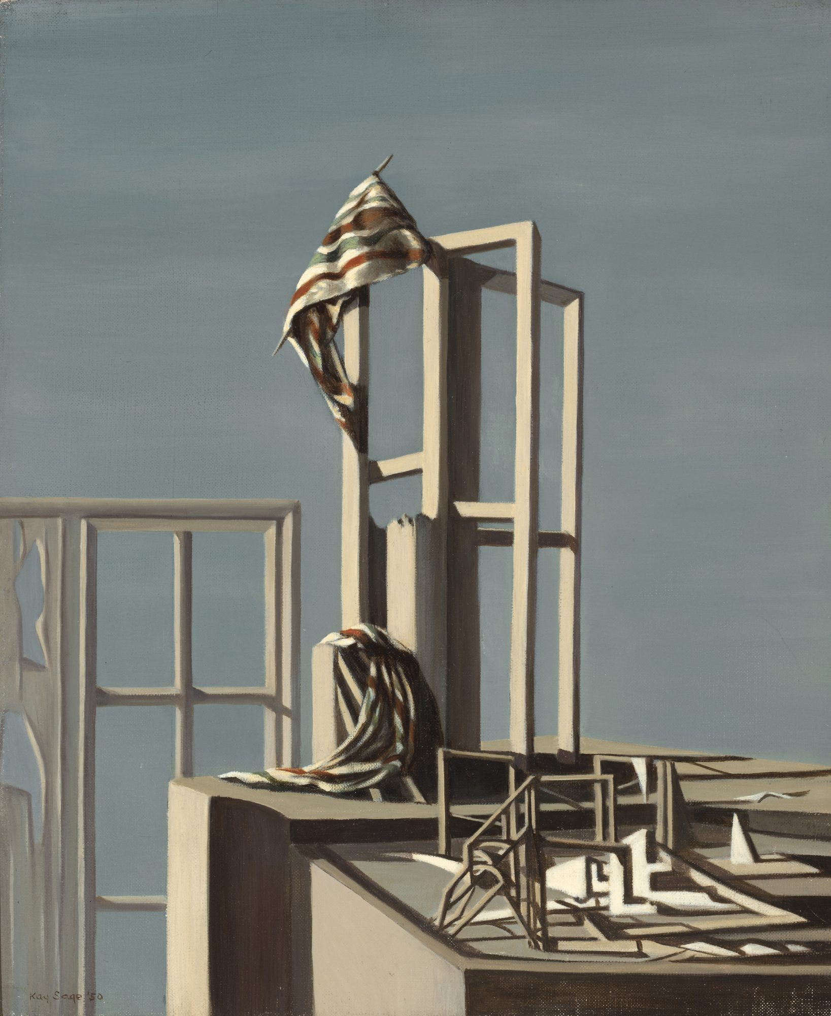 Kay Sage (American, 1898-1963), Page 49, 1950. Oil on canvas, 18 1/8 x 15 1/8 in. Bequest of Kay Sage Tanguy. 64.23