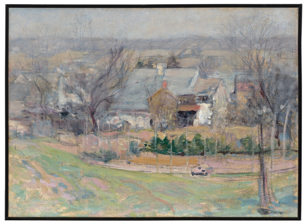 John Henry Twachtman painting Holly House, Cos Cob, Connecticut, 1902 oil on canvas frame: 21 1/16 x 26 9/16 in. (53.5 x 67.5 cm) image: 14 1/2 x 20 in. (36.8 x 50.8 cm) Museum purchase 41.6
