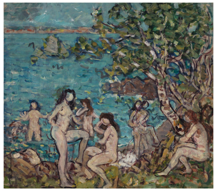 Maurice Brazil Prendergast painting Bathers by the Sea, ca. 1910-1913 oil on canvas Overall: 31 x 35 1/8 in. (78.7 x 89.2 cm) frame: 39 1/4 x 43 1/4 x 3 in. (99.7 x 109.9 x 7.6 cm) Gift of Mrs. Charles Prendergast 83.20.1