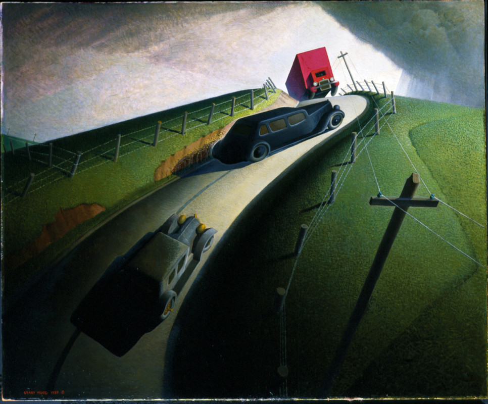 Grant Wood, American ; 1891-1942 painting Death on the Ridge Road, 1935 oil on masonite 32 1/8 × 39 1/16 × 1 5/16 in. (81.6 × 99.2 × 3.3 cm) frame: 39 1/8 × 46 × 4 in. (99.4 × 116.8 × 10.2 cm) Gift of Cole Porter 47.1.3