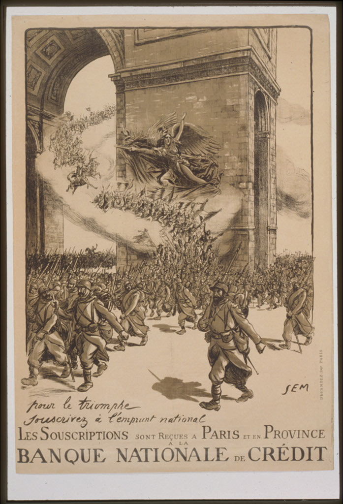 Sem, alias of Georges Goursat (French, 1863-1934) For victory subscribe to the National Loan. Subscriptions are taken in Paris and in the Provinces at the Banque Nationale de Crédit, 1916 Chromolithograph on paper Anonymous gift 39.1.357