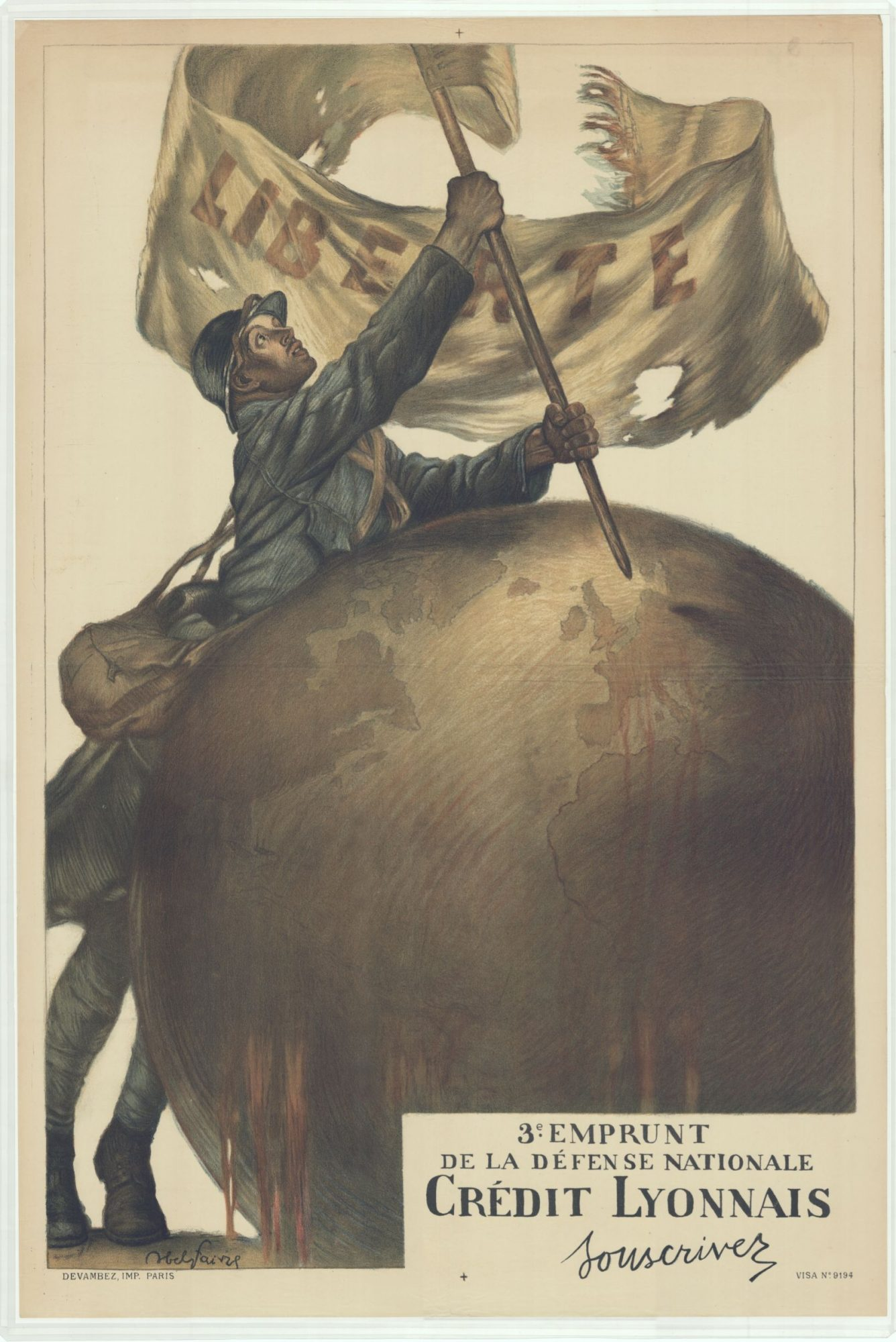 Abel Faivre (French, 1867-1945) Liberty, the 3 rd National Defense Loan. Crédit Lyonnais. Subscribe, 1917 Chromolithograph on paper Anonymous gift 39.1.330