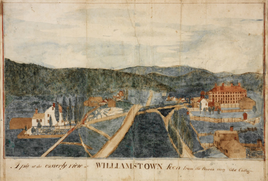 Anonymous (American), c. 1798-1828, A Part of the Easterly View of Williamstown Seen from the Fourth Story of Old College, frame: 14 3/4 x 18 11/16 in. (37.4 x 47.4 cm) Overall: 10 7/8 x 15 1/16 in. (27.6 x 38.3 cm), Gift of the Watkinson Library, Trinity College, Hartford, Connecticut, through the efforts of Don Engley, 60.52