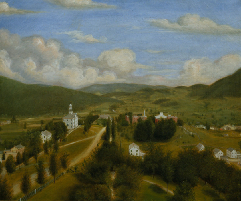 Anonymous (American) , View of Williams College Looking East, 1851, oil on canvas, 30 1/8 x 35 7/16 in. (76.5 x 90 cm), Gift of Rev. Charles Jewett Collins, Class of 1845, 1845.1